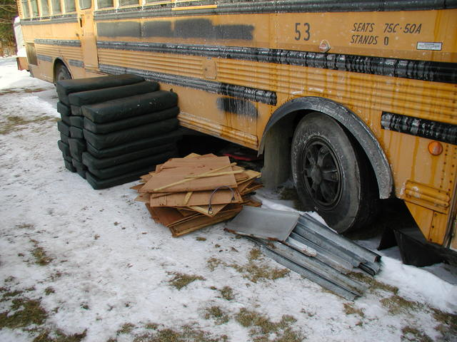 removing the seats from the bus