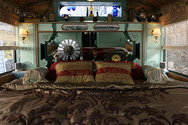 headboard scone lamps Steampunk School bus RV Victorian Bedroom