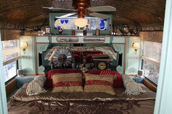 Steampunk School bus RV Victorian Bedroom
