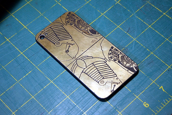 etched brass iphone back