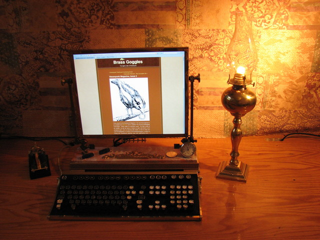 steampunk desktop and kerosene lamp