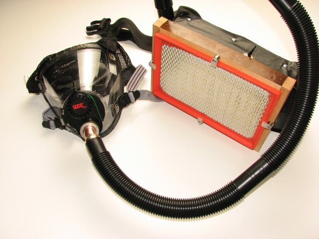 powered respirator made from gas mask and automotive filter