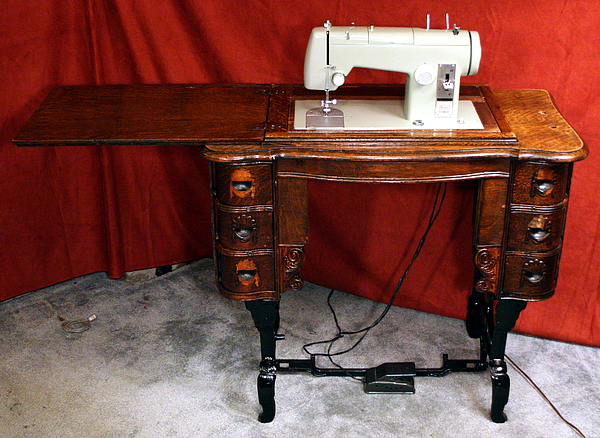 New Ish Sewing Machine Into An Old Table