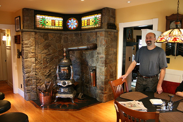Bruce designed and built the fire-back and hearth to compliment the
