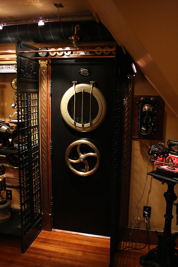 A visit to a steampunked home for Steampunk kitchen accessories