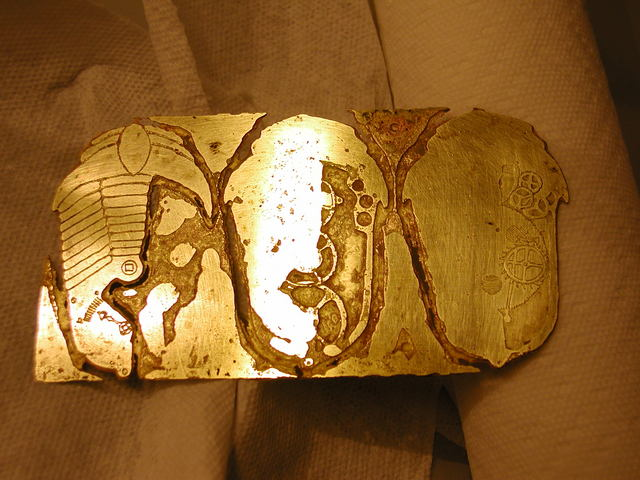 fully etched brooch pieces