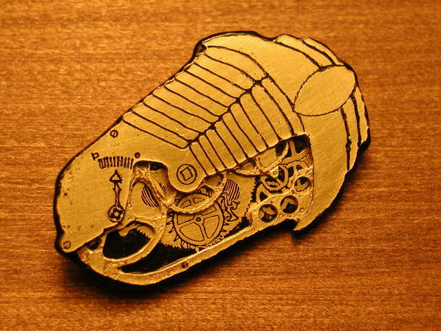 Steampunk Clockwork Trilobite Brooch