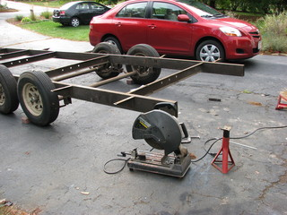 cutting the trailer frame