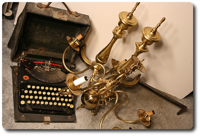 old typerwriter and brass found at the dump