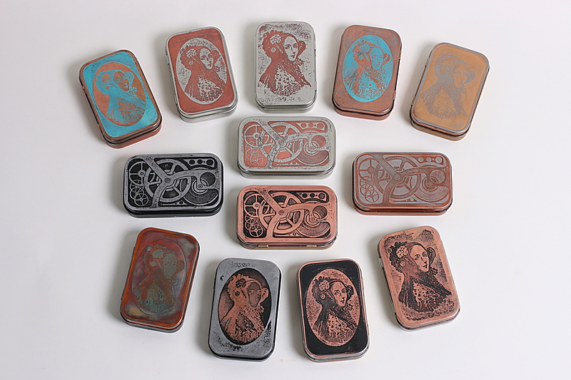 etching tins with salt water and electricity compliment to the