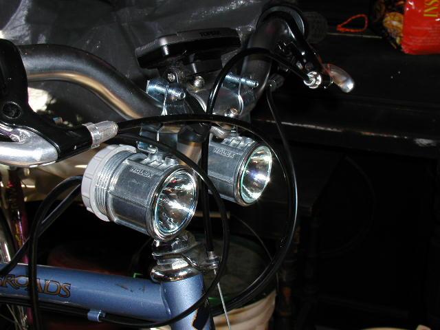 headlights mounted on bike