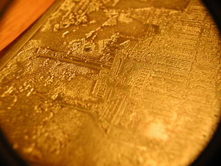 close up of etched plate