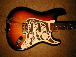 paper mockup of steampunk stratocaster