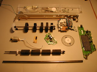 motors and parts salvaged from HP inkjet printer