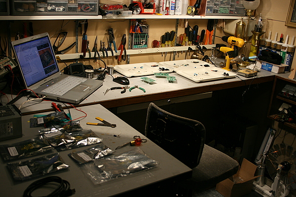 steampunk workshop electronics bench