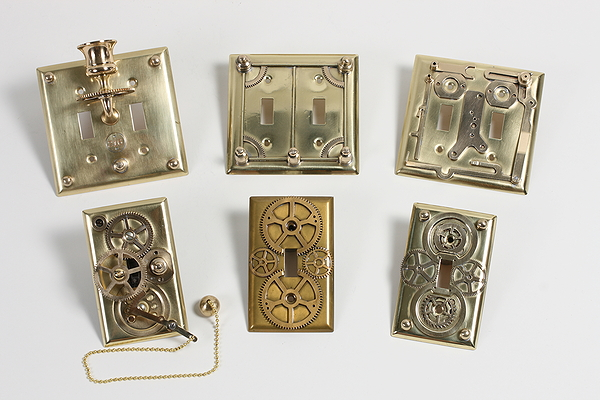 brass light switch plates - Steampunk Decor