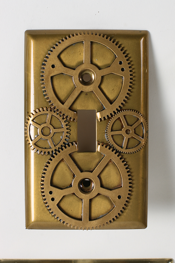 Steampunk Decor - Lightswitch plate for bedroom